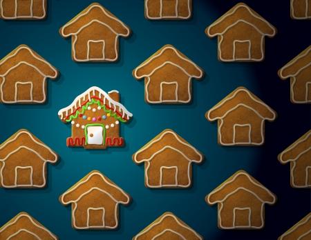 holiday cookies: Panes de jengibre en forma de casa de Navidad con Concept guinda con un grupo de galletas de navidad vector cualitativa EPS-10 ilustraci�n para el d�a de a�o nuevo s, navidad, vacaciones de invierno, cocina, nuevo a�o s v�speras, comida, silvester, etc Vectores