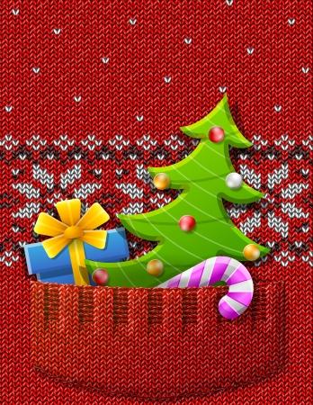 크리스마스 트리, 선물, 새해 기호와 패턴 질적 벡터 EPS-10 새로운 년의 일, 크리스마스에 대한 그림, 겨울 방학, 새해 전야, 실베스트르 등 니트 포켓 점
