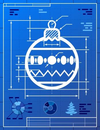 year        s: Albero di Natale simbolo palla come blueprint disegno Disegno stilizzato di decorazione pallina segno sul progetto di carta qualitativa vettore EPS-10 illustrazione per il giorno di Capodanno s, natale, decorazione, vacanza inverno, disegno, vigilia di nuovo anno s, silvester, ecc
