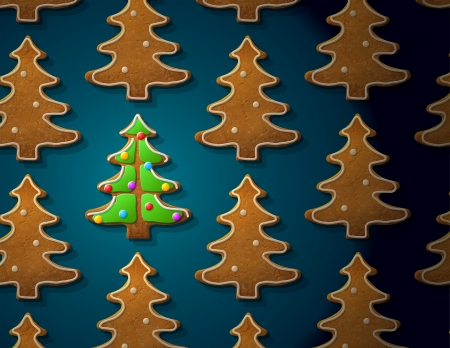 holiday cooking: Gingerbreads in shape of christmas tree with icing  Concept with group of holiday cookies  Qualitative vector  EPS-10  illustration for new year s day, christmas, winter holiday, cooking, new year s eve, food, silvester, etc