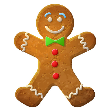 Gingerbread man decorated colored icing, Holiday cookie in shape of man, Qualitative vector  EPS-10  illustration for new year s day, christmas, winter holiday, cooking, new year s eve, food, silvester, etc Иллюстрация