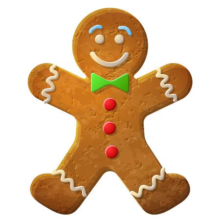 L'uomo di pan di zenzero decorato glassa colorata, biscotto di vacanza in forma di uomo, vettore qualitativa EPS-10 illustrazione per il giorno di Capodanno s, natale, vacanze invernali, la cucina, il Capodanno s, cibo, Silvester, ecc