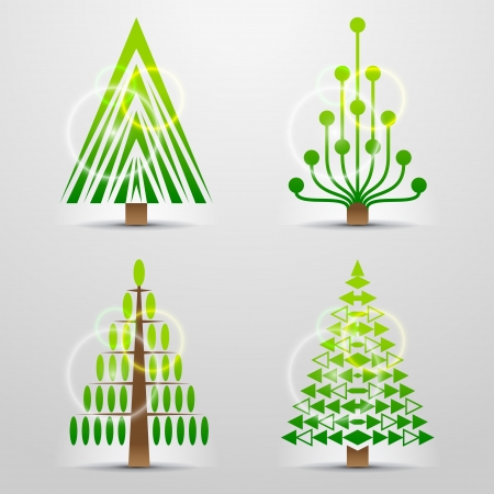 new year s eve: Stylized symbols of christmas tree  Set of original vector christmas trees  Qualitative vector  EPS-10  design elements for new year s day, christmas, winter holiday, new year s eve, silvester, etc Illustration