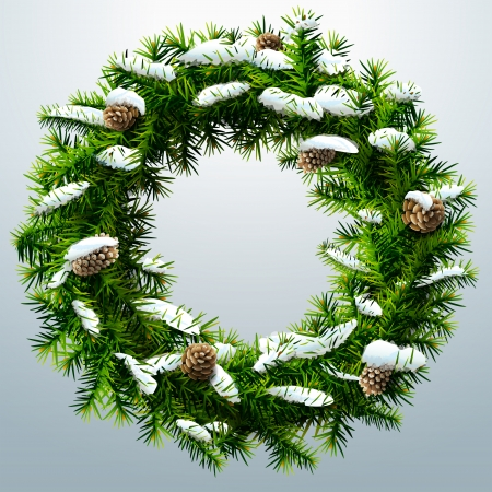 new year's: Christmas wreath with pinecones and snow  Wreath of pine branches without decoration  Qualitative vector  EPS-10  illustration for new year s day, christmas, decoration, winter holiday, design, new year s eve, silvester, etc