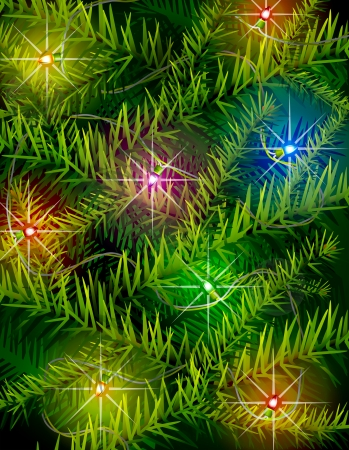 irradiation: Christmas tree branches and light garland  New Year backdrop with pine branches and christmas lights  Qualitative vector  EPS-10  illustration for new year s day, christmas, winter holiday, design, new year s eve, silvester, etc Illustration