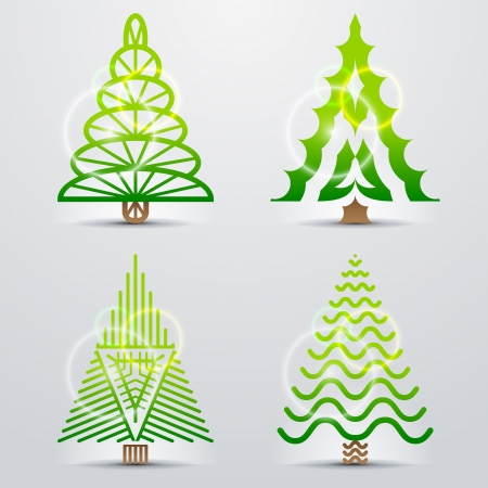new year s day: Stylized symbols of christmas tree  Set of original vector christmas trees  Qualitative vector  EPS-10  design elements for new year s day, christmas, winter holiday, new year s eve, silvester, etc Illustration