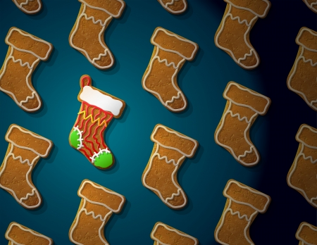 new year s day: Gingerbreads in shape of christmas stocking with icing  Concept with group of holiday cookies  Qualitative vector  EPS-10  illustration for new year s day, christmas, winter holiday, cooking, new year s eve, food, silvester, etc