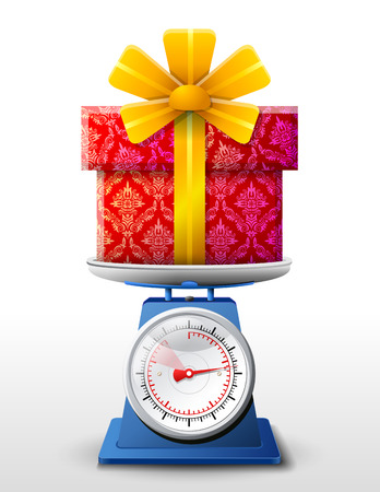 inkle: Gift symbol on scale pan  Weighing gift box on scales  Qualitative vector  EPS-10  illustration for holiday, packaging supplies, congratulation, gift wrapping, packaging, etc Illustration