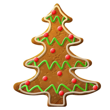 new year s eve: Gingerbread christmas tree decorated colored icing  Holiday cookie in shape of christmas tree  Qualitative vector  EPS-10  illustration for new year s day, christmas, winter holiday, cooking, new year s eve, food, silvester, etc