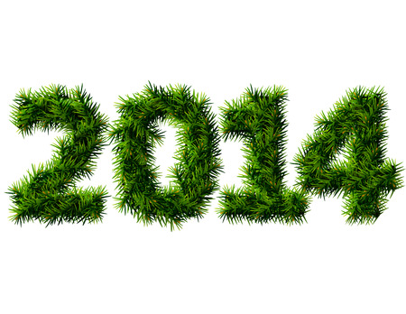 new year s eve: New Year 2014 of christmas tree branches isolated on white  Empty pine twigs in shape of number 2014  Qualitative vector  EPS-10  design element for new year s day, christmas, winter holiday, new year s eve, silvester, etc