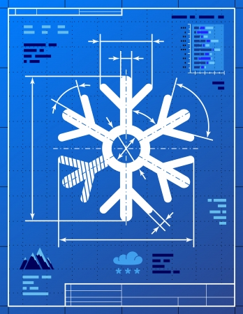 Snowflake symbol like blueprint drawing  Stylized drawing of snow sign on blueprint paper  Qualitative vector  EPS-10  illustration for new year s day, christmas, weather, winter holiday, new year s eve, winter recreation, etc