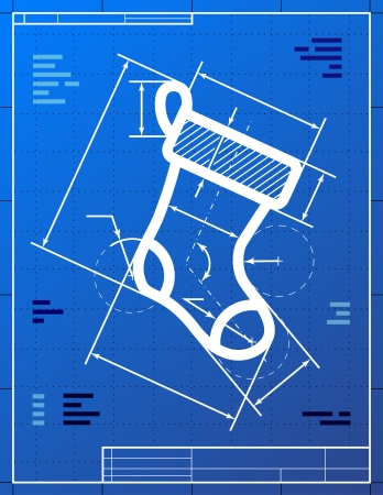 new year's: Christmas stocking symbol like blueprint drawing  Stylized drawing of sock sign on blueprint paper  Qualitative vector  EPS-10  illustration for new year s day, christmas, decoration, winter holiday, design, new year s eve, silvester, etc