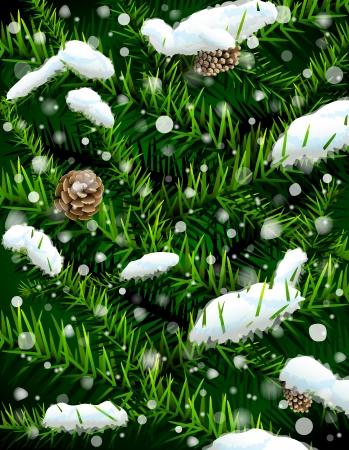 silvester: Christmas tree branches with pinecones and snow  New Year backdrop with pine branches and falling snow  Qualitative vector  EPS-10  illustration for new year s day, christmas, winter holiday, design, new year s eve, silvester, etc