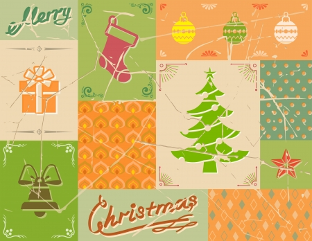 Vintage christmas card in green colors   Vector