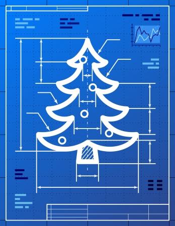 produktion: Weihnachtsbaum Symbol wie Blueprint Zeichnung