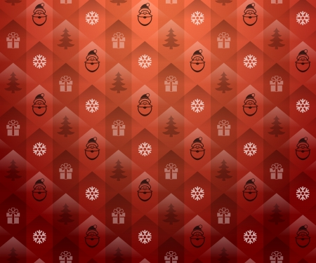 Christmas red background  Christmas red pattern with Santa Claus and snowflake  Vector