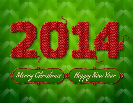 stockinet: New Year 2014 of knitted fabric on green background