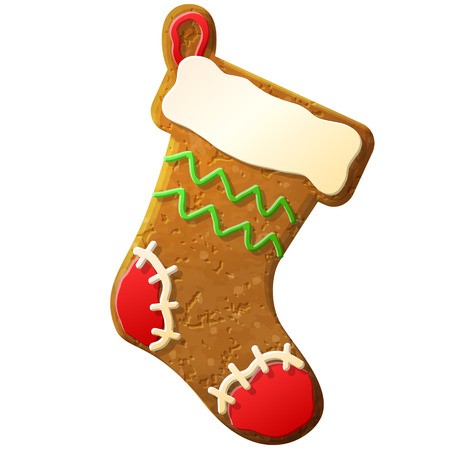 Gingerbread christmas stocking decorated colored icing Vector