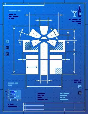 donative: Gift symbol like blueprint drawing