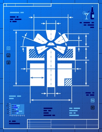 Gift symbol like blueprint drawing