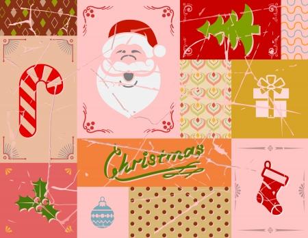 sinterklaas: Vintage christmas card in red colors