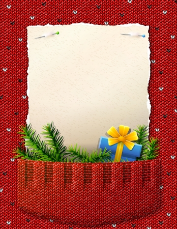 Paper for christmas list in knitted pocket  Sweater fragment with pine branches, gift and blank paper Ilustração