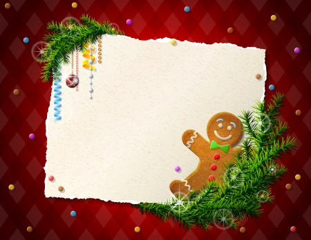 Paper for christmas list with gingerbread man   Illustration