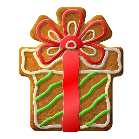 Gingerbread christmas gift decorated colored icing   Vector