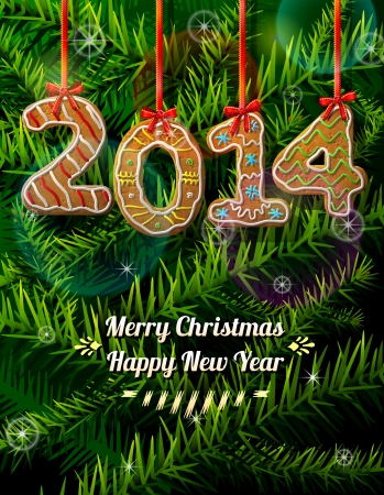 New Year 2014 in shape of gingerbread against pine branches  Illustration