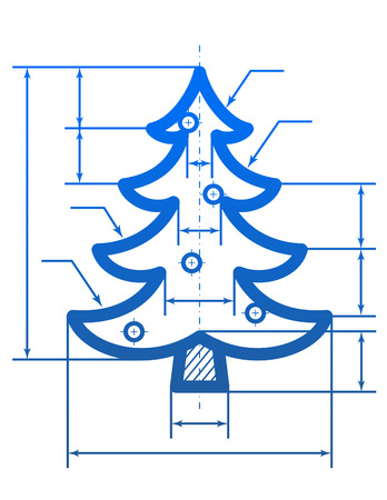 cad drawing: Christmas tree symbol with dimension lines  Element of blueprint drawing in shape of pine   Illustration