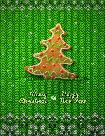 Christmas tree cookie on knitted background  Jumper fragment with holiday gingerbread   Ilustração