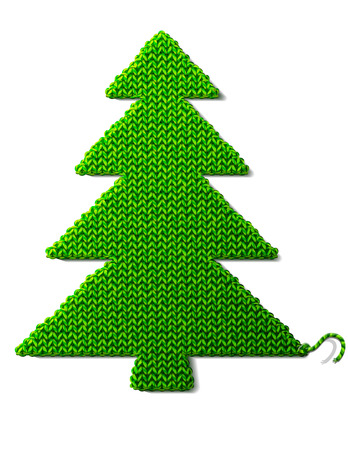 spruce thread: Christmas tree of knitted fabric isolated on white background