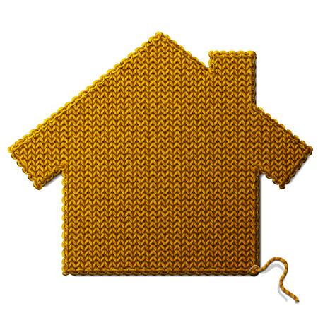 stockinet: House symbol of knitted fabric isolated on white background