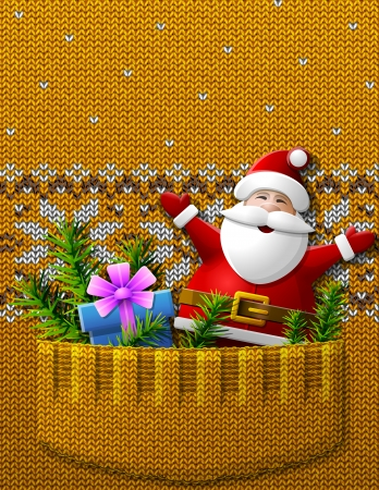 stockinet: Santa Claus, gift, pine twigs in knitted pocket   Illustration