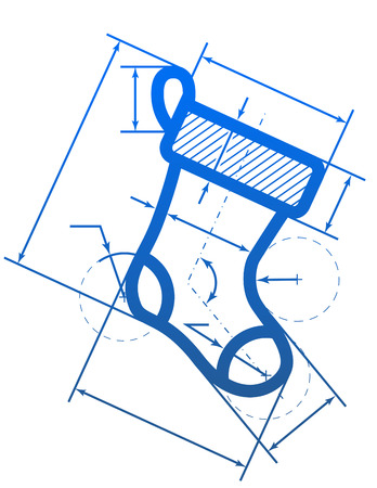 cad drawing: Christmas stocking symbol with dimension lines