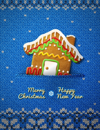 new year s eve: Christmas house cookie on knitted background  Jumper fragment with holiday gingerbread  Qualitative vector  EPS-10  illustration for christmas, new year s day, winter holiday, new year s eve, silvester, etc Illustration