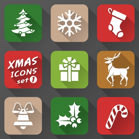 Set of christmas icons in flat style  Simple new year icons with long shadow effect  Qualitative vector  EPS-10  graphics for christmas, new year s day, winter holiday, design, silvester, etc Vector