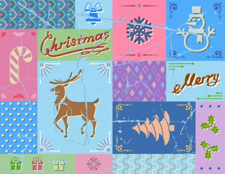 new year s eve: Vintage christmas card in blue colors  Collage of christmas symbols  Qualitative vector  EPS-10  illustration for christmas, decoration, new year s day,  winter holiday, design, new year s eve, silvester, etc