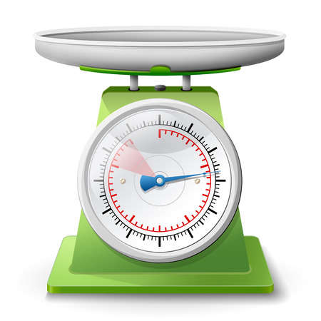 Weegschaal op een witte achtergrond Weegschalen met pan en dial Kwalitatieve vector EPS-10 illustratie voor meting van het gewicht, keukenapparatuur, meetinstrument, etc