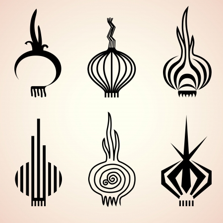 allium: Set of onion icons in different graphic styles  Stylized symbols of onion bulb  Qualitative vector  EPS-10  icons for agriculture, food service, cooking, gastronomy, olericulture, etc