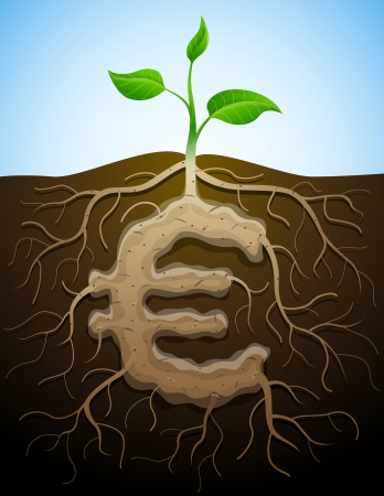 Euro sign like root of plant