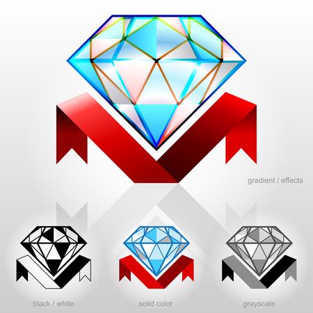 zafiro: Diamante en la vista lateral con la cinta Vectores