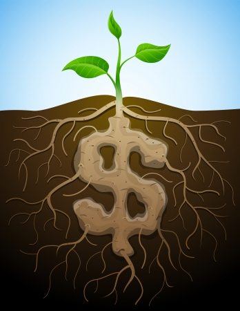 dollar icon: Dollar sign is shown as root of plant