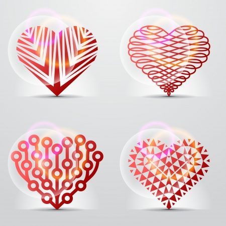 health symbols metaphors: Original heart symbols  icons, signs  Illustration