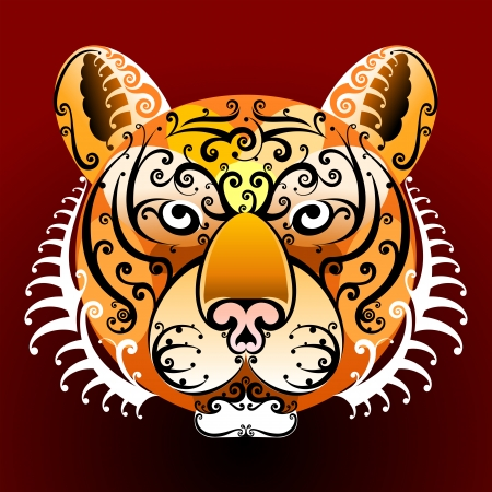 panthera: Tiger s face with swirls Illustration
