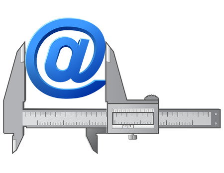 vernier: Caliper measures  At  symbol  Measuring size of sign  @   Qualitative vector  EPS-10  illustration about internet, communication services, information technology, email, telecommunication, etc