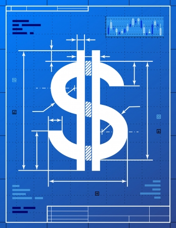 Dollar sign like blueprint drawing  Stylized drafting of money symbol on blueprint paper  Qualitative vector  EPS-10  illustration for banking, financial industry, economy, accounting, etc