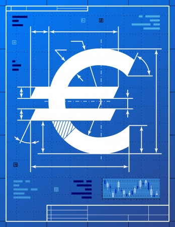 Euro sign like blueprint drawing  Stylized drafting of money symbol on blueprint paper  Qualitative vector  EPS-10  illustration for banking, financial industry, economy, accounting, etc