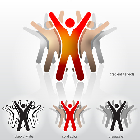 collective: Group of abstract people with their hands up  Qualitative vector  EPS-10  illustration about teamwork, group performance, people union, meeting a goal, collective success, esprit de corps, etc