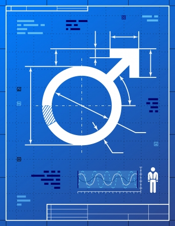 Male symbol like blueprint drawing  Stylized drafting of men sign on blueprint paper  Qualitative vector  EPS-10  illustration about men biology and health, male psychology  father, son , sex differences, gender role, etc